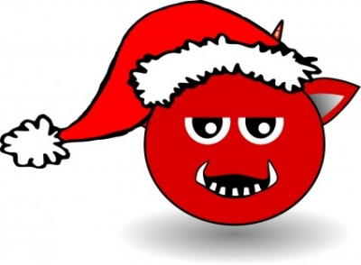 Free vector Vector clip art  Little Red Devil Head Cartoon with Santa Claus hat