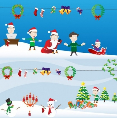 Free vector Vector Christmas  lovely christmas element vector and scenes