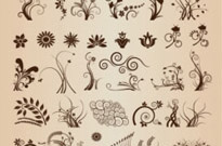 Vector Set of Vector Floral Ornamental Elements for Design