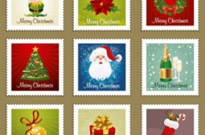 Free vector Vector Christmas  beautiful christmas ornaments stamp vector