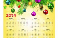 Free vector Vector misc  Calendar 2014 with christmas ball