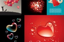 Free vector Vector Heart  five beautiful heartshaped vector love theme