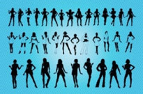 Free vector Vector people  Sexy Girls Silhouettes