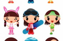 Free vector Vector cartoon  super cute cartoon girl vector