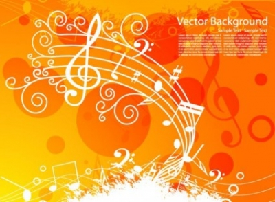 Free vector Vector background  Orange Music Background