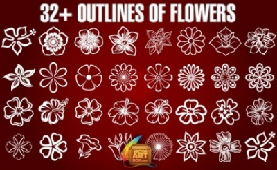 Free vector Vector flower  Outlines of Flowers