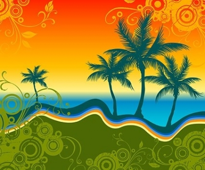 Free vector Vector pattern  palm beach silhouette with trend pattern vector