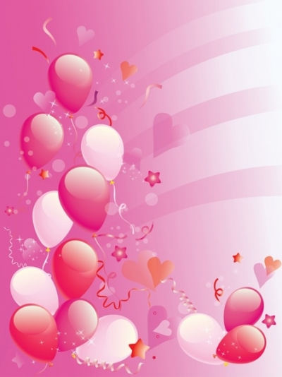 Pink Party balloons background Free vector 2.96MB