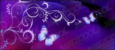 Free vector Vector flower  Purple Butterfly Dream background and patterns