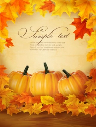 Free vector Vector trust to nature  realistic pumpkin card 02 vector