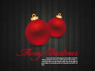 Free vector Vector background  Red Balls Christmas background