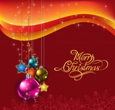 Free vector Vector background  Red Christmas Background with Christmas Balls Vector Illustration