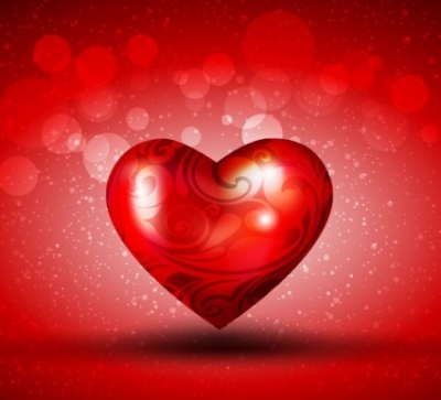 Free vector Vector background  Red Heart over Bright Background