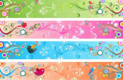 Free vector Vector banner  Retro Floral Banners