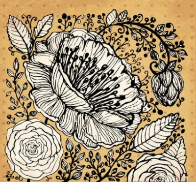 Free vector Vector background  Retro hand-painted flowers vector background11