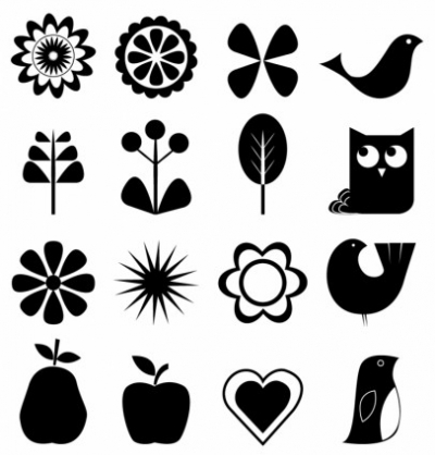 Free vector Vector icon  Retro nature icon set