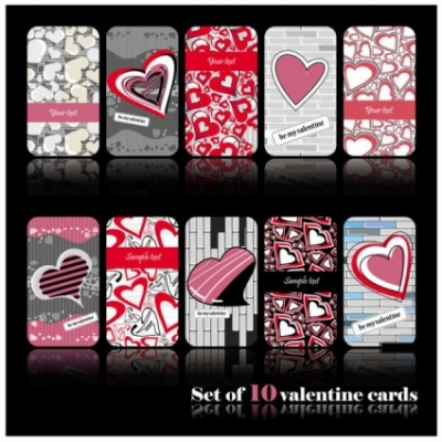 Free vector Vector pattern  romantic heartshaped pattern cards vector