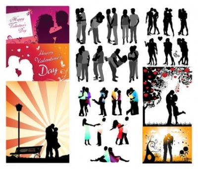 Free vector Vector Silhouettes  romantic lovers silhouette vector