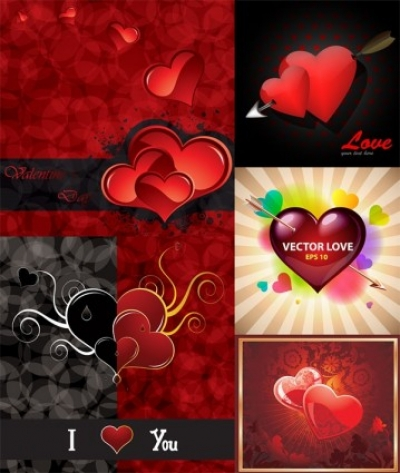 Free vector Vector Heart  romantic valentine day greeting card vector