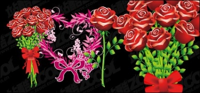 Free vector Vector flower  Roses and heart-shaped pattern vector material