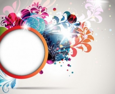 Free vector Vector floral  Round Frame Decorated with Floral Elements Vector Illustration