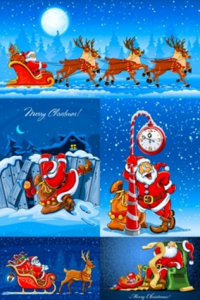 Free vector Vector misc  santa claus and elk vector