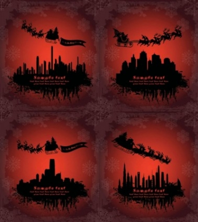 Free vector Vector Silhouettes  santa claus flying silhouette vector