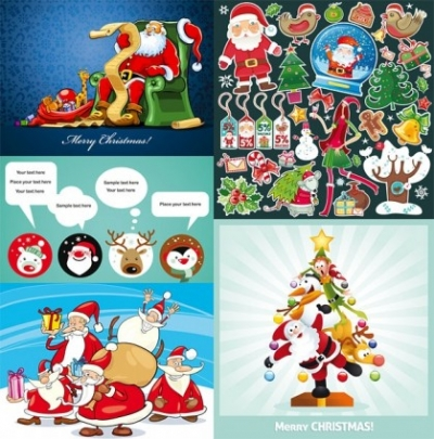 Free vector Vector Christmas  several cute christmas theme vector