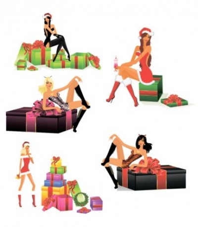 Free vector Vector people  sexy christmas girls vector