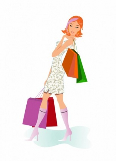 Free vector Vector people  Shopping girl with  bags