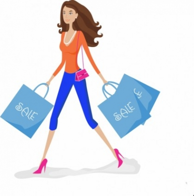 Free vector Vector people  Shopping girl with sale bags