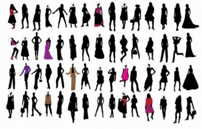Free vector Vector people  Silhouette of Fashion Girls