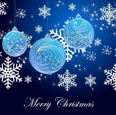 Free vector Vector background  Snowflake Background and Blue Christmas Balls