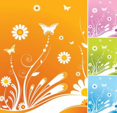 Free vector Vector flower  Spring Flowers Butterfly Vector