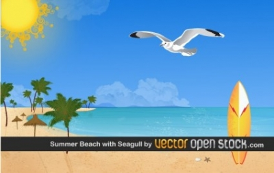 Free vector Vector misc  Summer beach with Seagulls