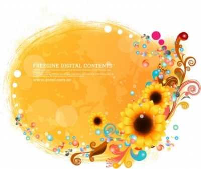 Free vector Vector flower  sunflower and colorful background pattern vector