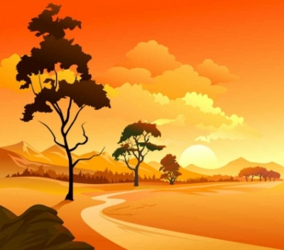 Free vector Vector background  sunset vector background