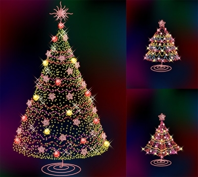 Free vector Vector Christmas  three glittering christmas tree vector