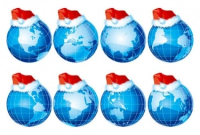 Free vector Vector Christmas  threedimensional earth and christmas hats vector
