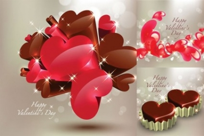 Free vector Vector Heart  three-dimensional heart-shaped chocolate vector