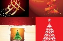 4 beautiful christmas tree vector Free vector 1.99MB