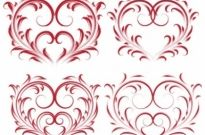 Free vector Vector pattern  4 beautiful heartshaped pattern vector