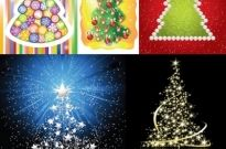 5 beautiful christmas tree vector Free vector 5.80MB