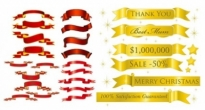 Free vector Vector banner  5 sets of festive ribbon banner vector