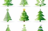 A variety of cartoon christmas tree vector Free vector 1.28MB