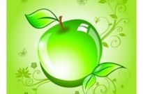Free vector Vector misc  Apple on a green background