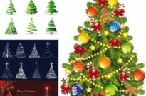 Free vector Vector Christmas  beautiful christmas tree vector