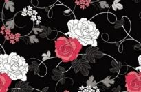 Free vector Vector background  black background floral 01 vector
