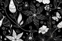 Free vector Vector background  black background floral 03 vector