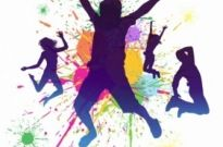 Free vector Vector misc  Boys jumping against a paint splatter background